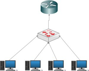 LAN network setup diagram with router