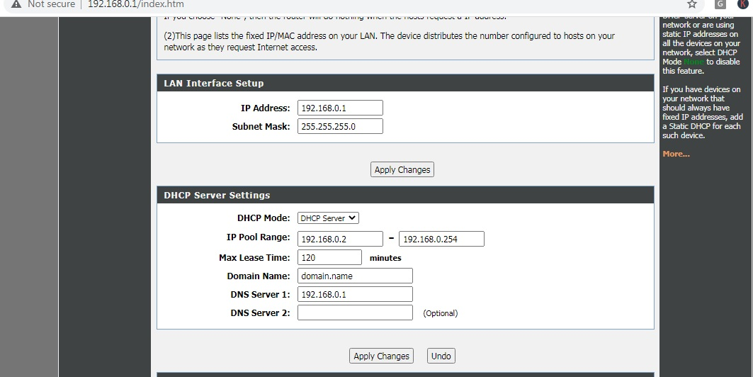 dhcp setup on wireless router screenshot
